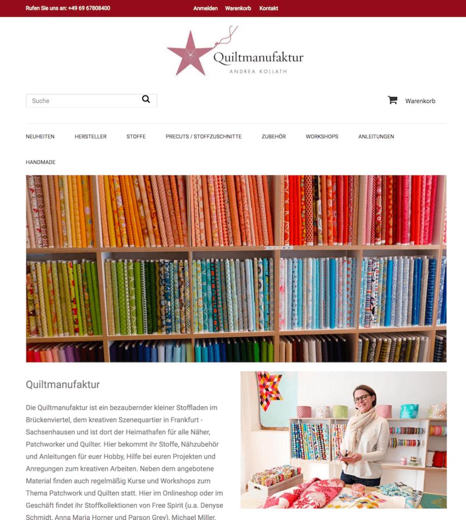 Shopbeispiel www.Stoffe-Quilts.de – Prestashop Shopsystem