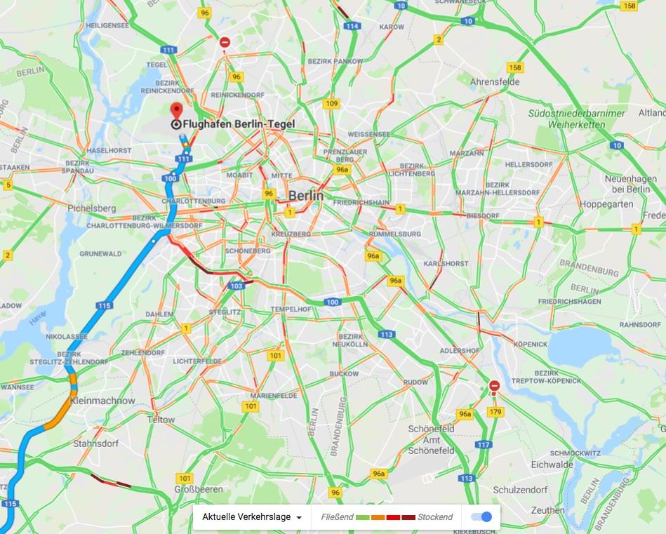 Verkehraufkommen Google Standortdaten