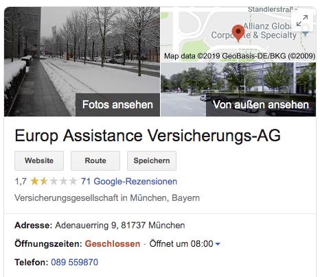 Kundenbewertungen bei Google – Rezensionen über Europ Assistance Versicherungs-AG