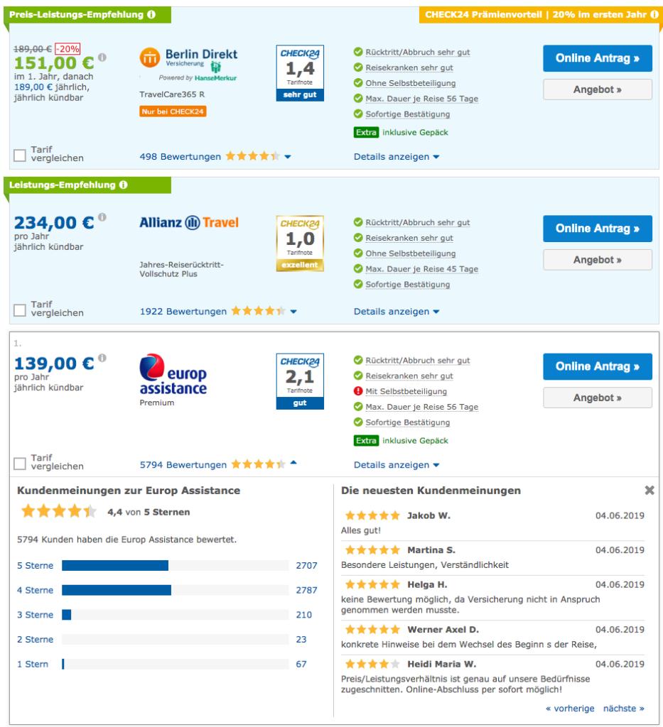 Screenshot: Ergebnisse Reiseversicherungen bei Check24