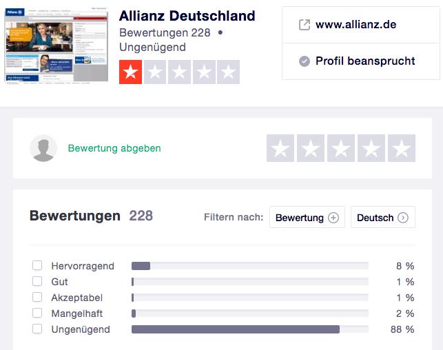 Kunden-Bewertungen über Allianz bei Trustpilot