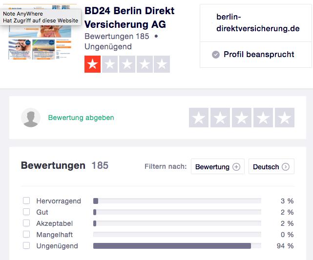 Kunden-Bewertungen über BD24 Berlin Direkt bei Trustpilot