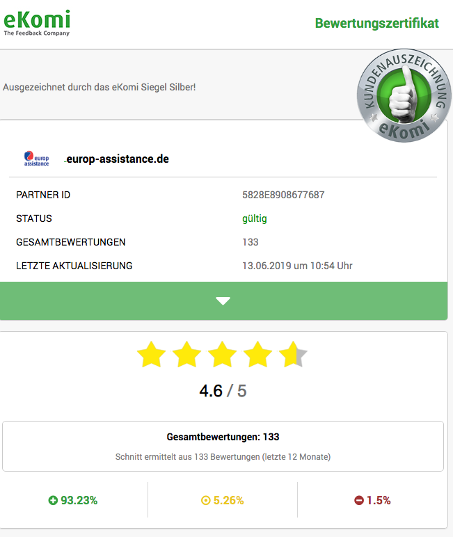 Screenshot: Kunden-Bewertungen bei eKomi