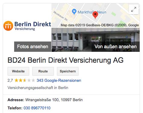 Kundenbewertungen bei Google – Rezensionen über BD24 Berlin Direkt Versicherung AG