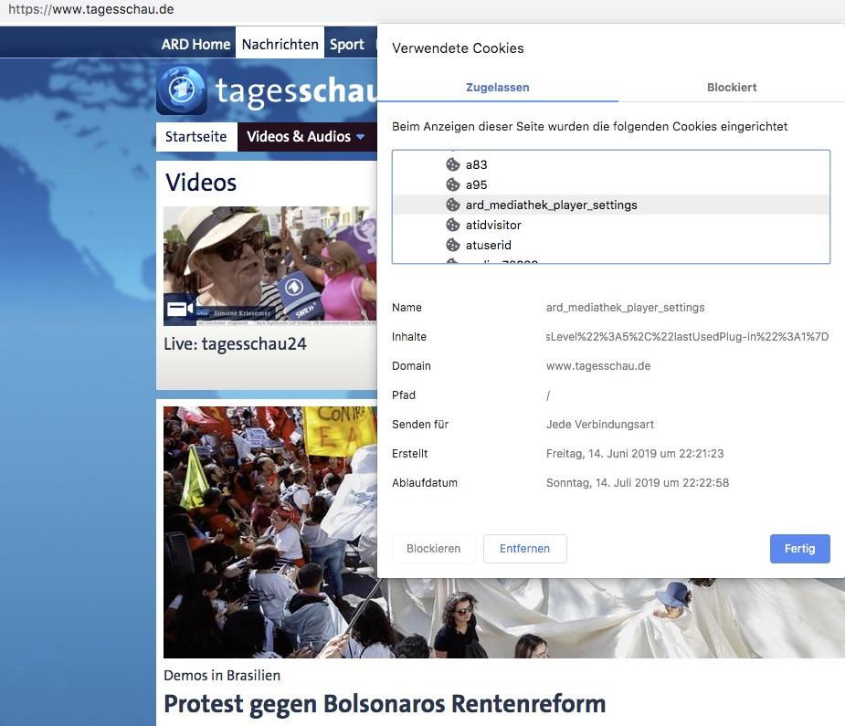 Beispiel: Cookieliste der Webseite von tagesschau.de