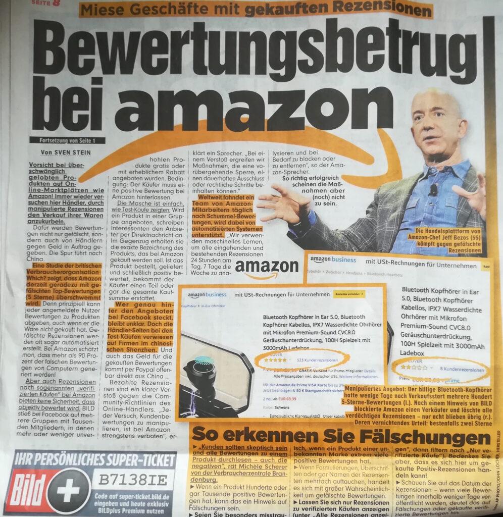 Bewertungsbetrug bei Amazon - Artikel in der Bildzeitung